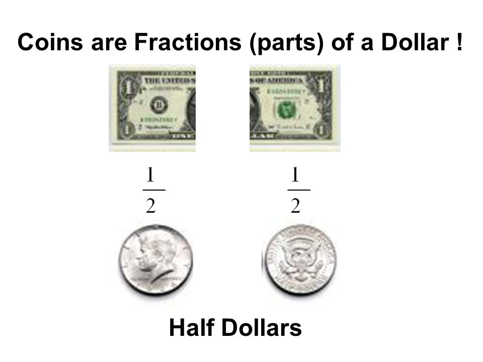 Coins are Fractions (parts) of a Dollar !