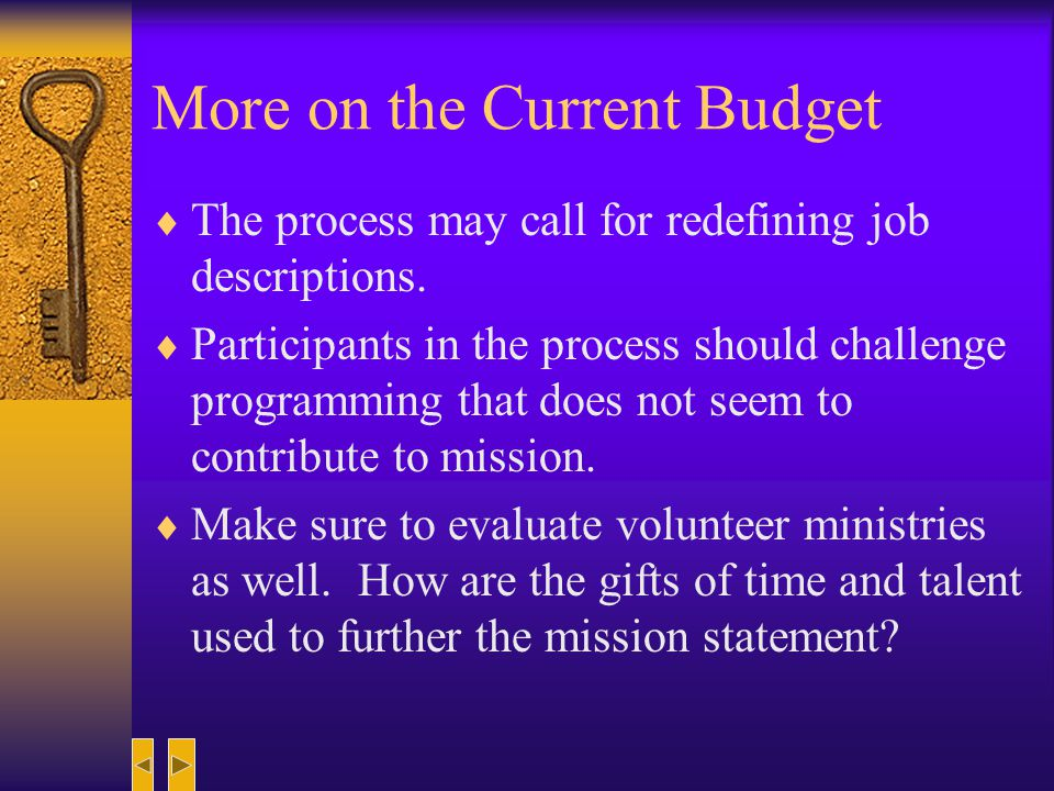 More on the Current Budget