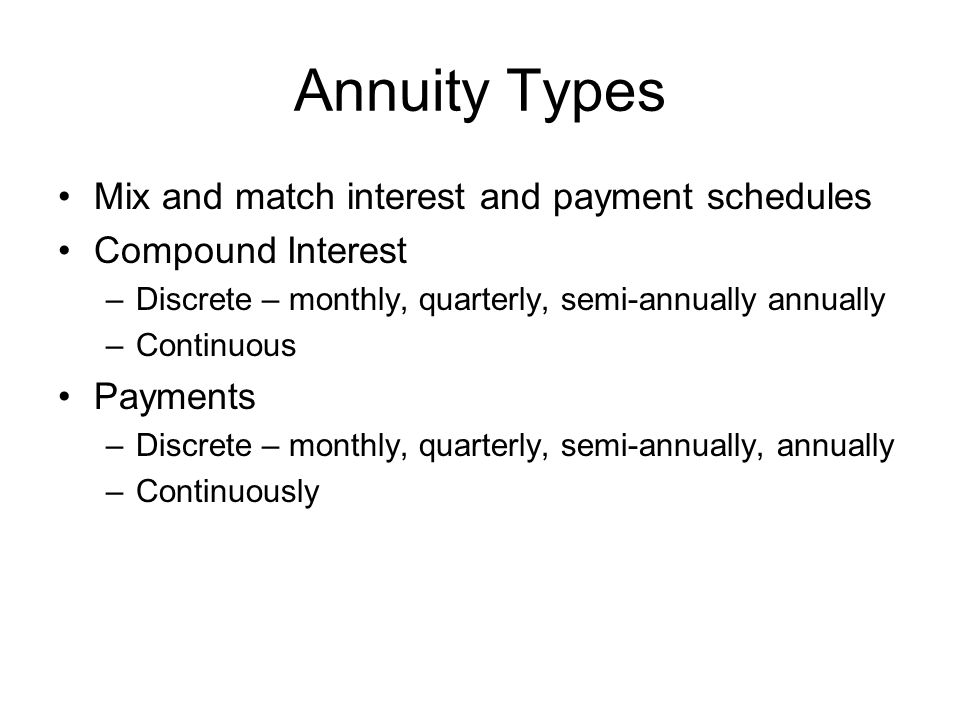 Annuity Types Mix and match interest and payment schedules