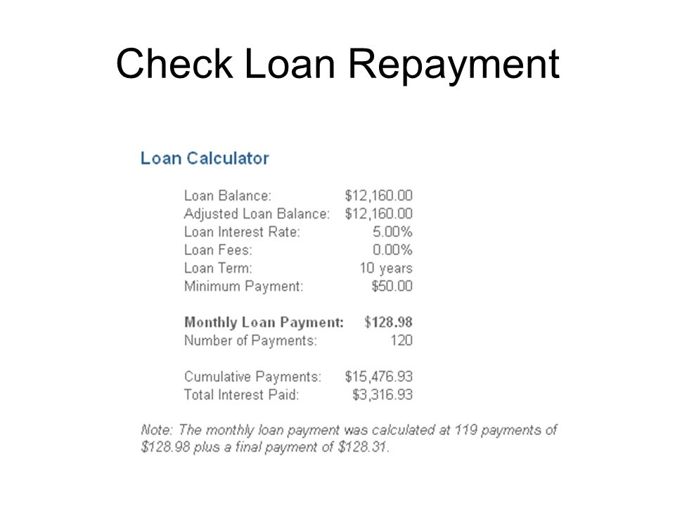 Check Loan Repayment