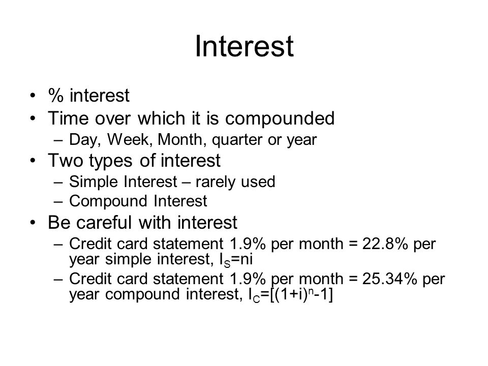 Interest % interest Time over which it is compounded