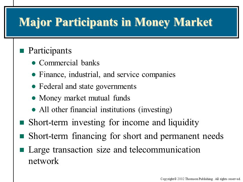 Major Participants in Money Market