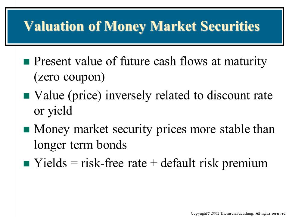 Valuation of Money Market Securities