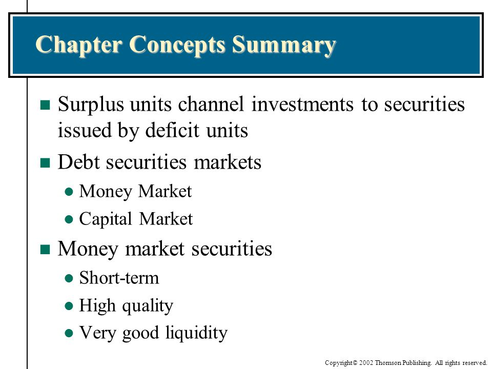 Chapter Concepts Summary