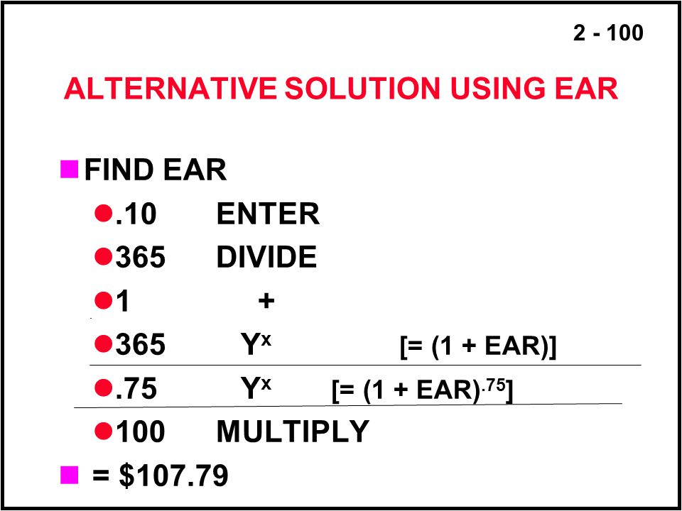 ALTERNATIVE SOLUTION USING EAR