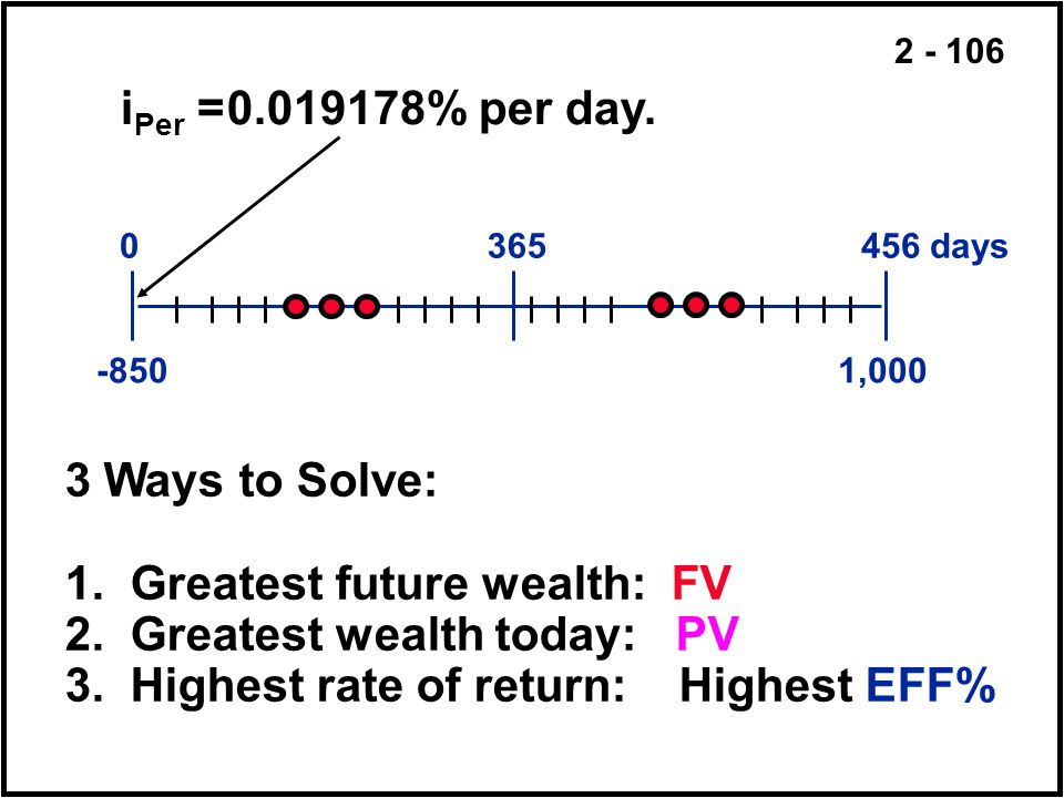 1. Greatest future wealth: FV 2. Greatest wealth today: PV