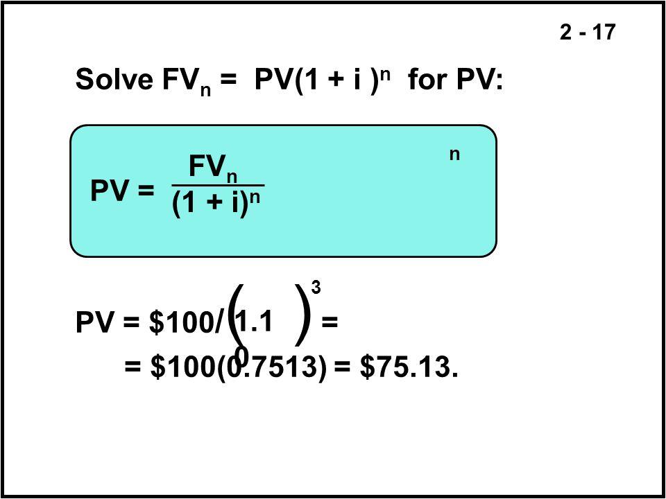 Solve FVn = PV(1 + i )n for PV: