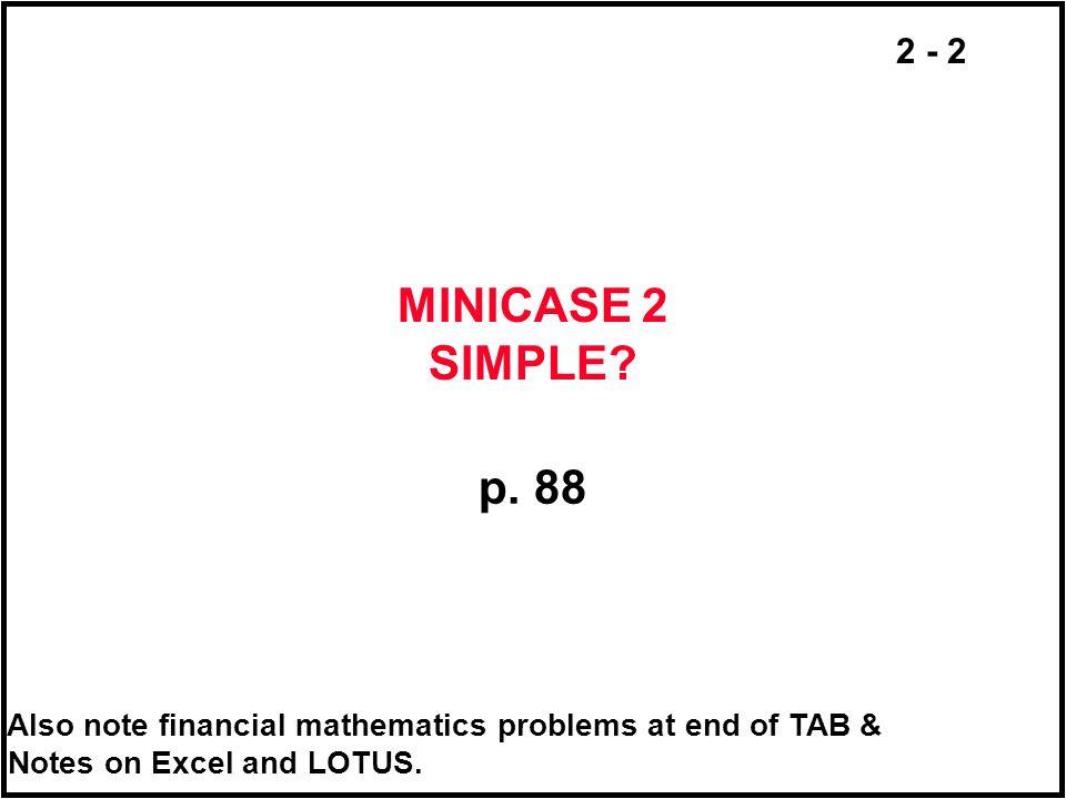 MINICASE 2 SIMPLE. p. 88.
