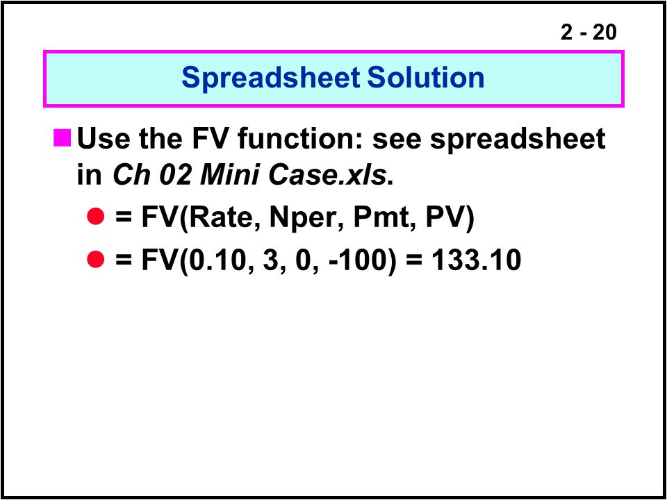 Spreadsheet Solution Use the FV function: see spreadsheet in Ch 02 Mini Case.xls. = FV(Rate, Nper, Pmt, PV)