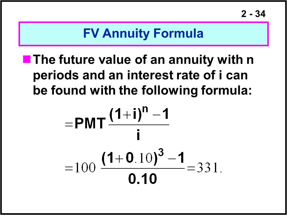 FV Annuity Formula The future value of an annuity with n periods and an interest rate of i can be found with the following formula: