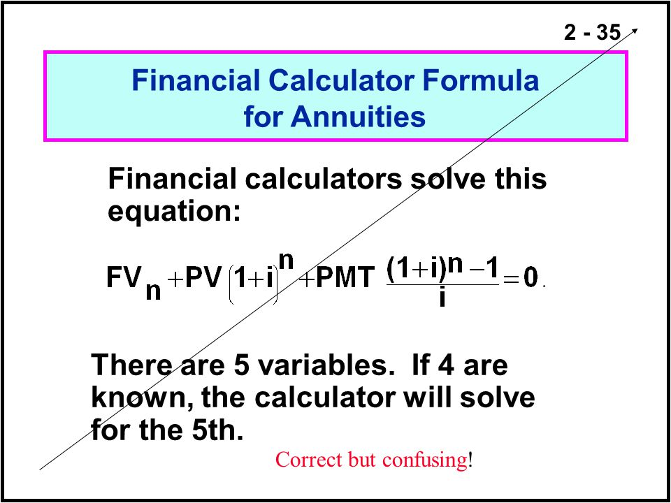 Financial Calculator Formula