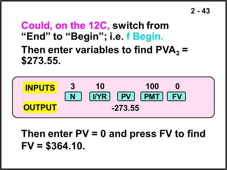Could, on the 12C, switch from End to Begin ; i.e. f Begin.