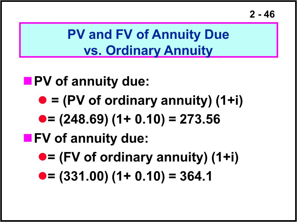 PV and FV of Annuity Due vs. Ordinary Annuity. PV of annuity due: = (PV of ordinary annuity) (1+i)