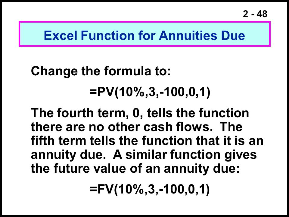Excel Function for Annuities Due