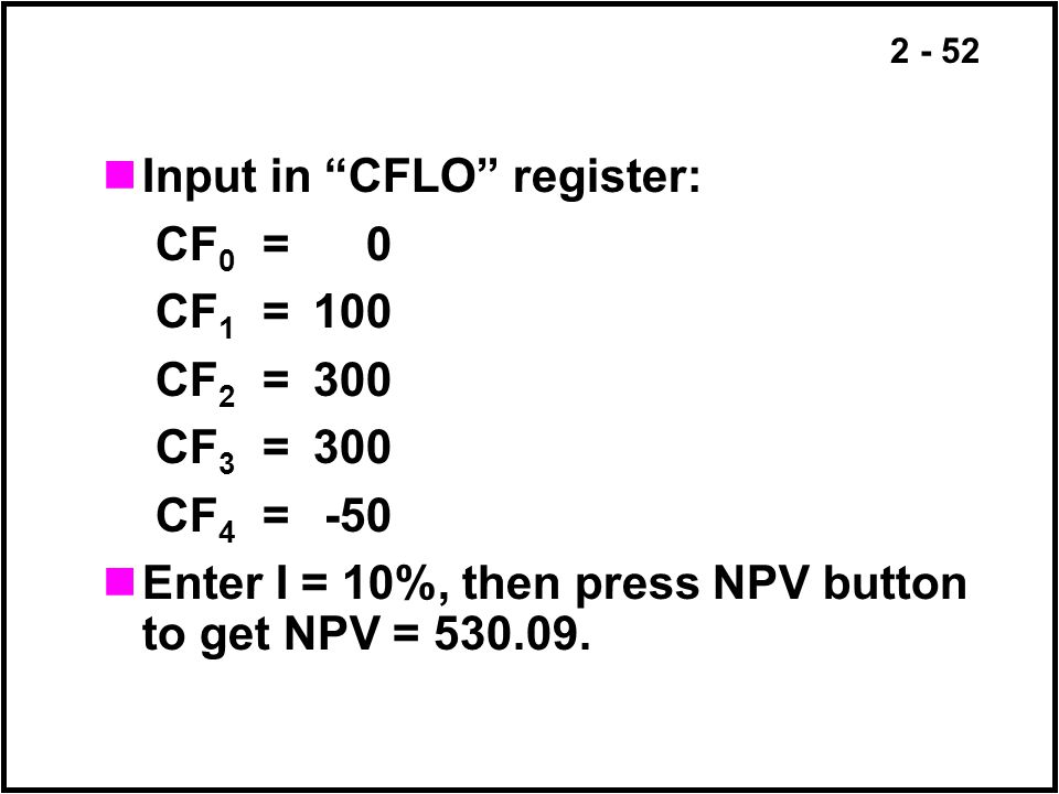 Input in CFLO register: