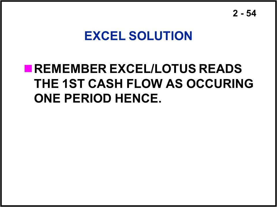 EXCEL SOLUTION REMEMBER EXCEL/LOTUS READS THE 1ST CASH FLOW AS OCCURING ONE PERIOD HENCE.