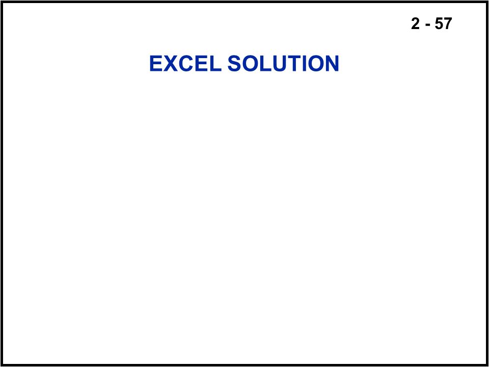 EXCEL SOLUTION