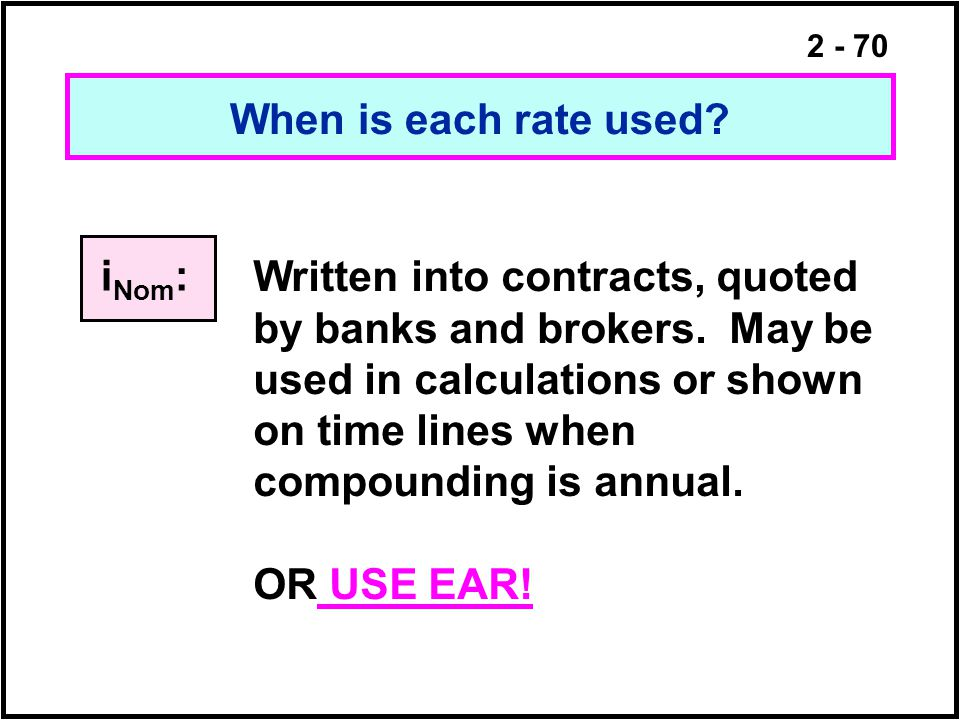 When is each rate used iNom:
