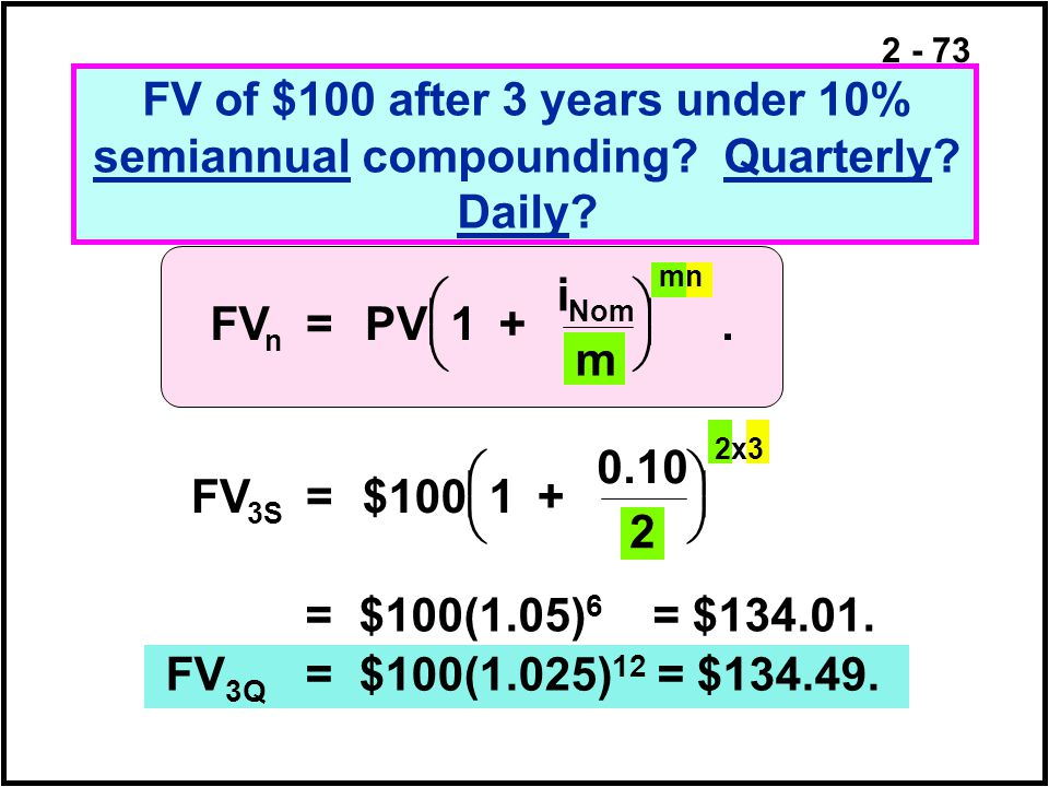 FV of $100 after 3 years under 10% semiannual compounding. Quarterly