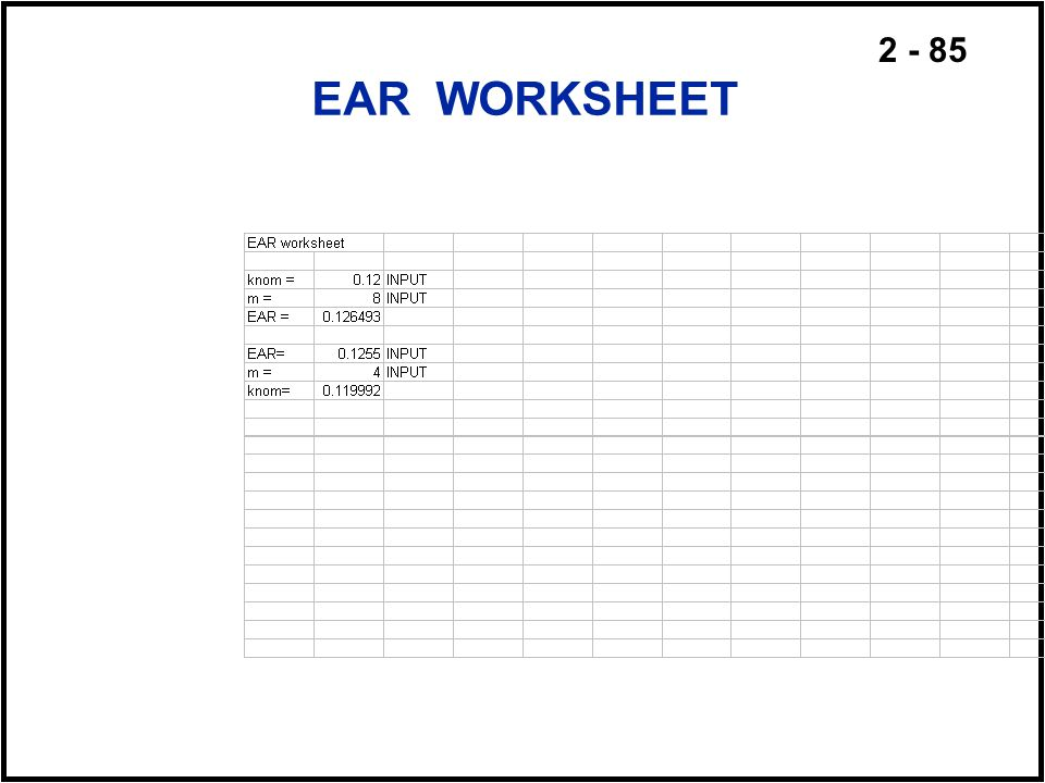 EAR WORKSHEET