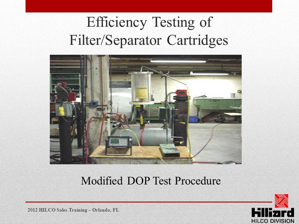 Efficiency Testing of Filter/Separator Cartridges