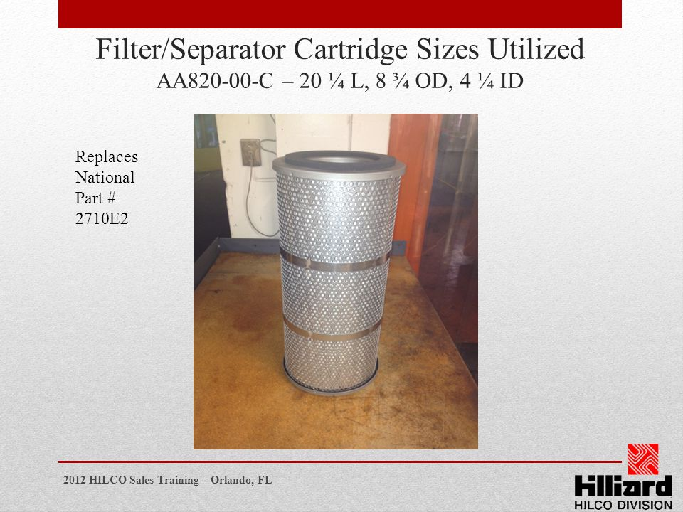 Filter/Separator Cartridge Sizes Utilized AA820-00-C – 20 ¼ L, 8 ¾ OD, 4 ¼ ID