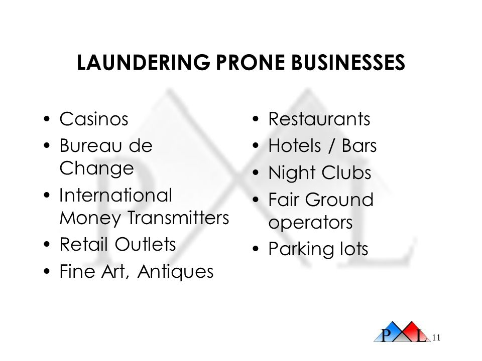 LAUNDERING PRONE BUSINESSES