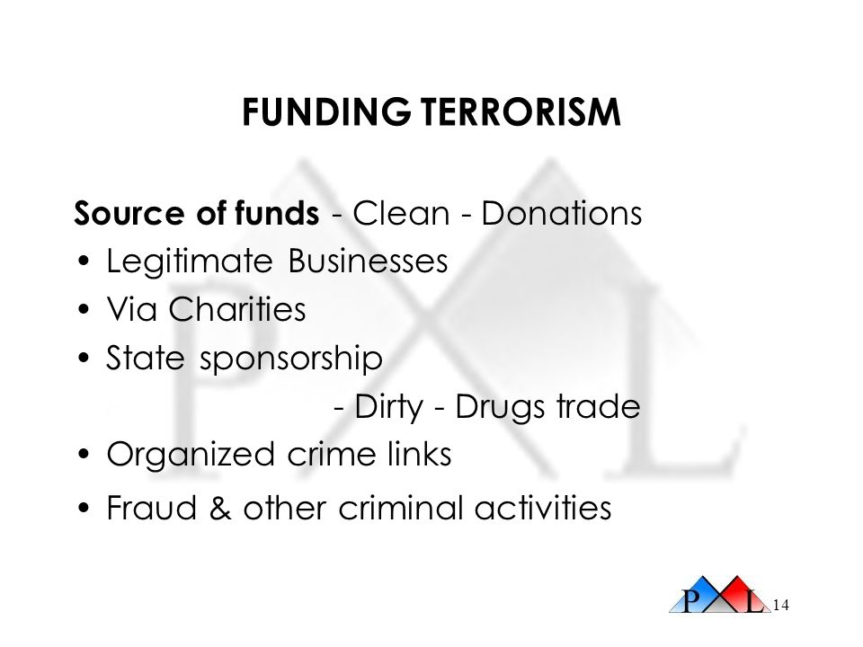 FUNDING TERRORISM Source of funds - Clean - Donations