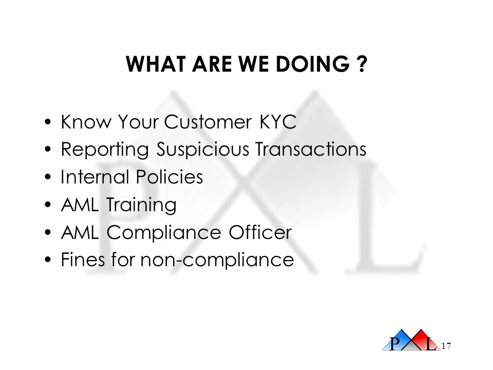 WHAT ARE WE DOING Know Your Customer KYC