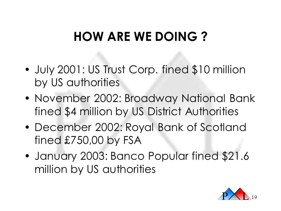 HOW ARE WE DOING July 2001: US Trust Corp. fined $10 million by US authorities.