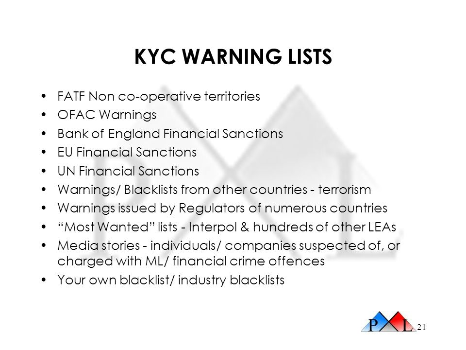 KYC WARNING LISTS FATF Non co-operative territories OFAC Warnings