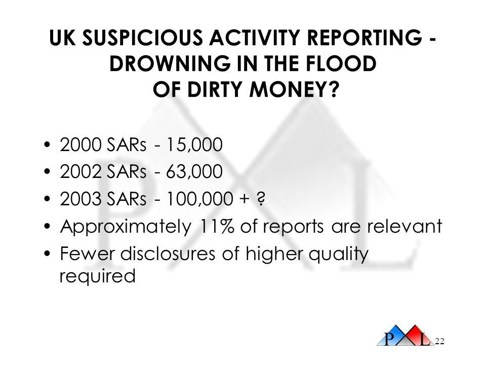 UK SUSPICIOUS ACTIVITY REPORTING - DROWNING IN THE FLOOD OF DIRTY MONEY
