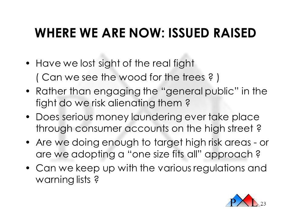 WHERE WE ARE NOW: ISSUED RAISED