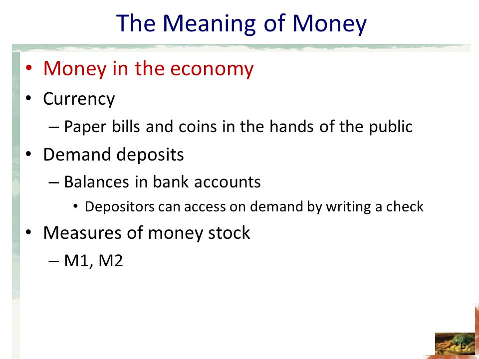 The Meaning of Money Money in the economy Currency Demand deposits
