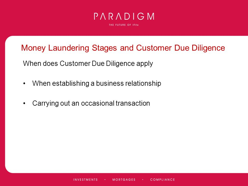 Money Laundering Stages and Customer Due Diligence
