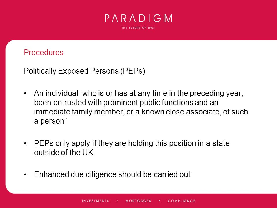 Procedures Politically Exposed Persons (PEPs)