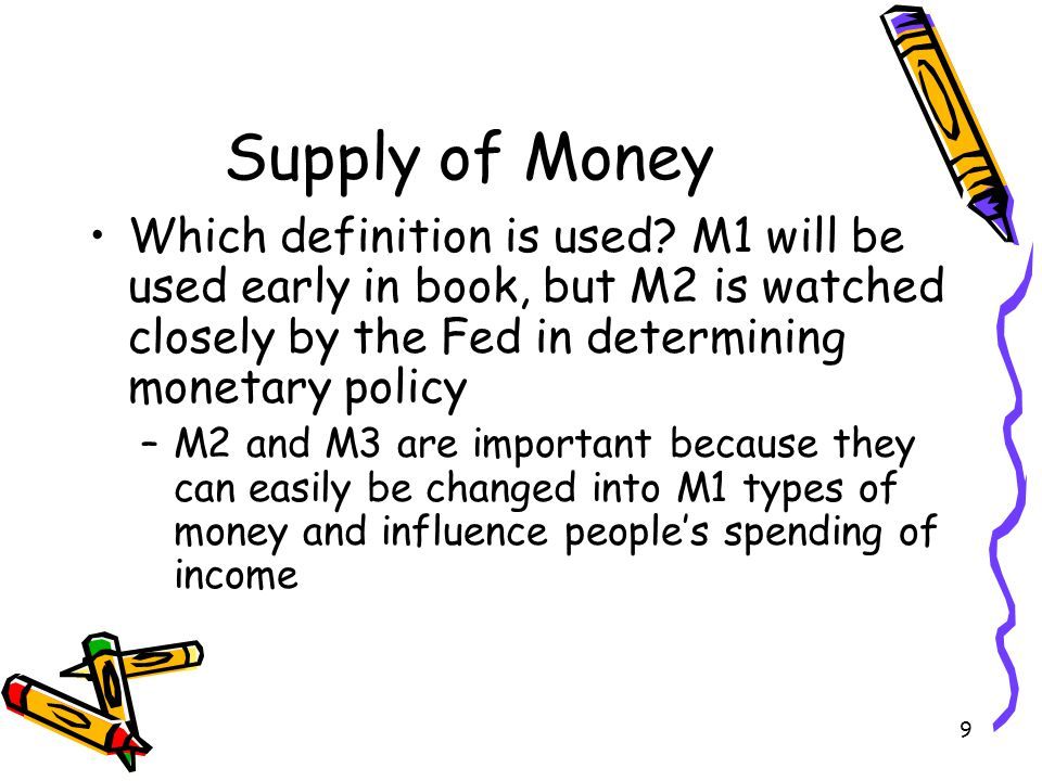 Supply of Money Which definition is used M1 will be used early in book, but M2 is watched closely by the Fed in determining monetary policy.