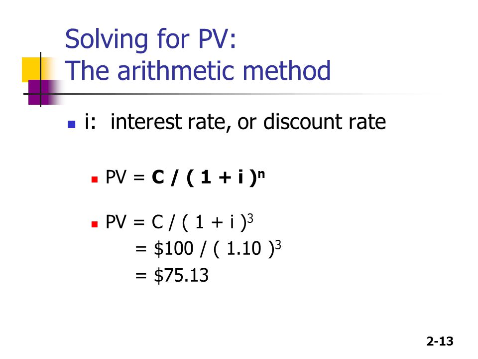 Solving for PV: The arithmetic method