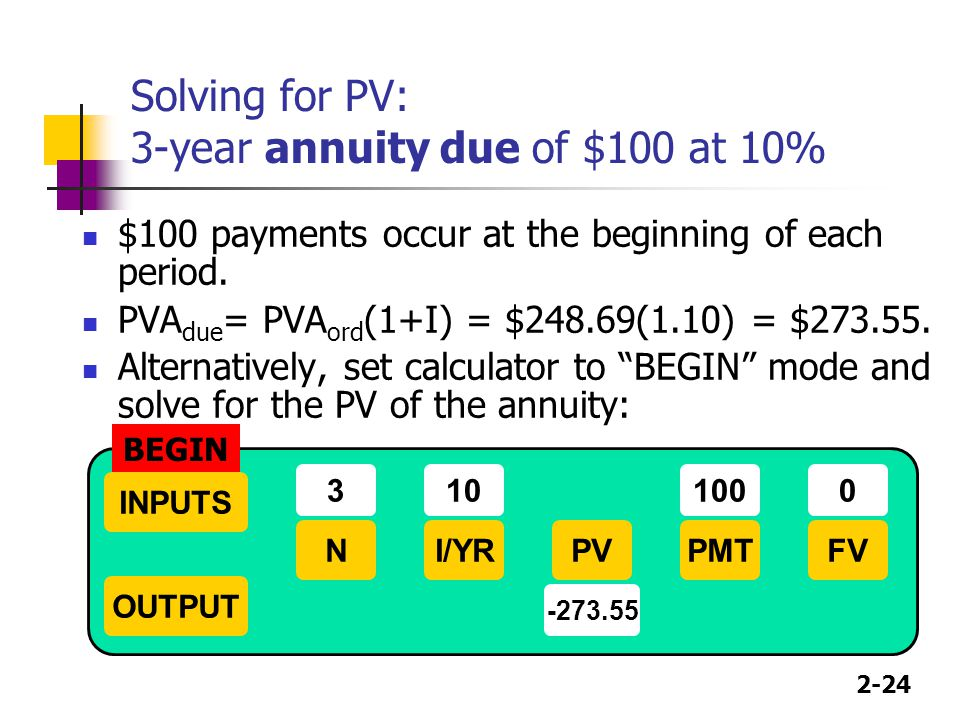 Solving for PV: 3-year annuity due of $100 at 10%