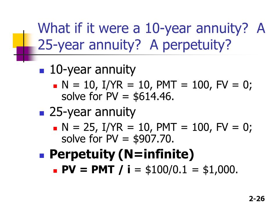 What if it were a 10-year annuity A 25-year annuity A perpetuity