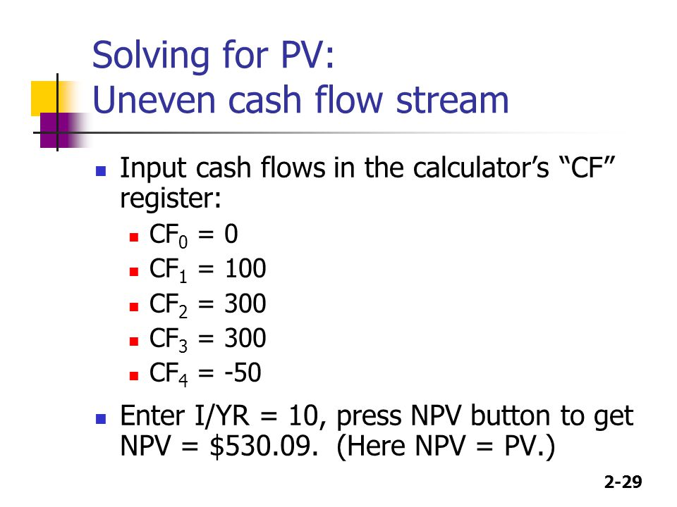 Solving for PV: Uneven cash flow stream