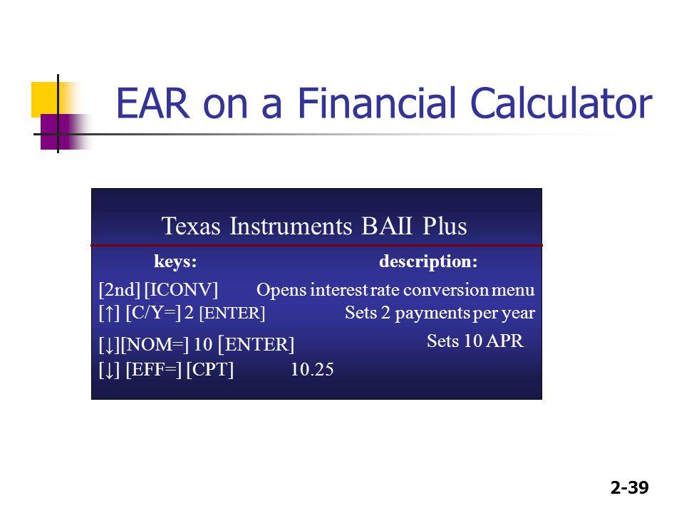 EAR on a Financial Calculator
