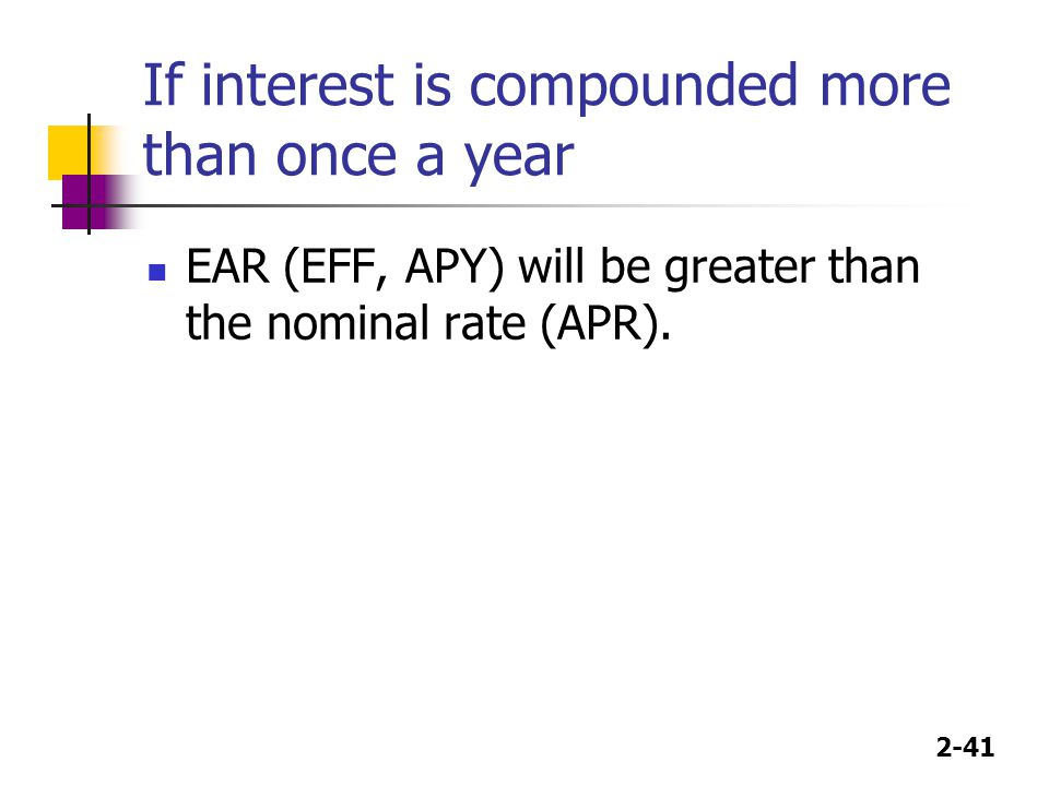 If interest is compounded more than once a year
