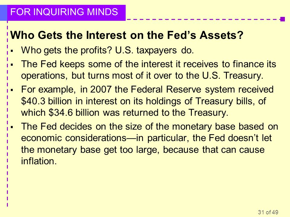 Who Gets the Interest on the Fed's Assets