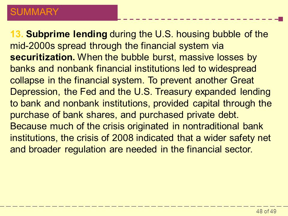 13. Subprime lending during the U. S