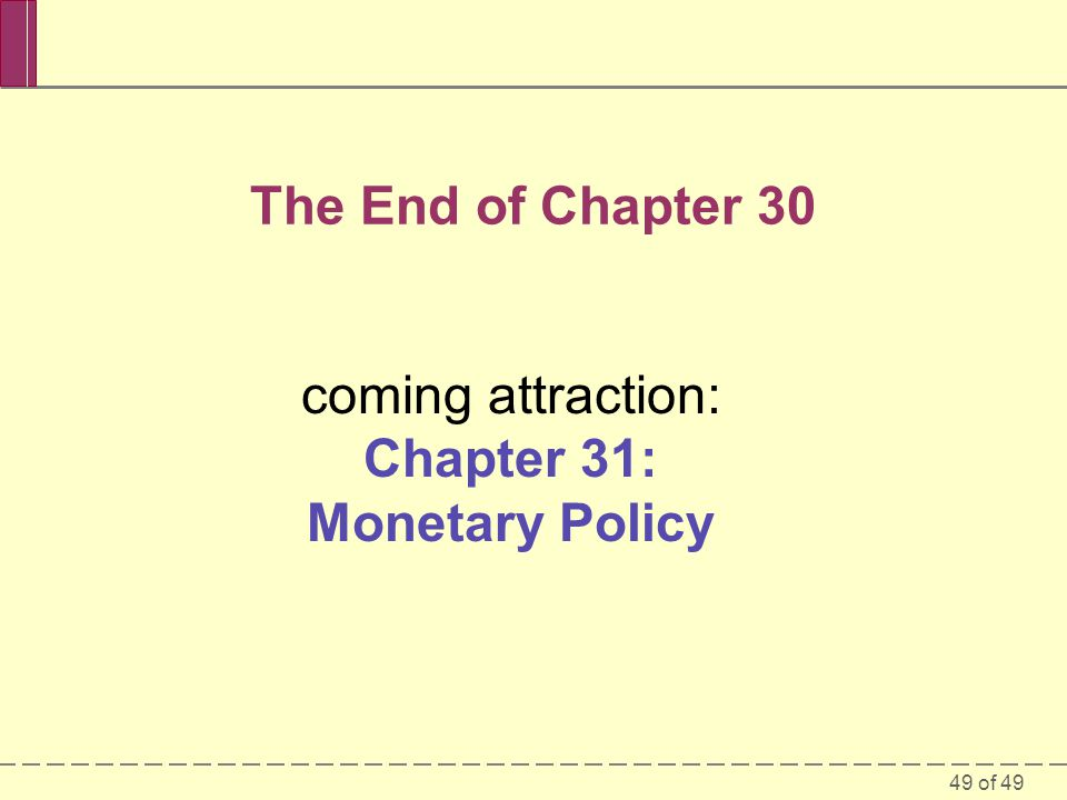 coming attraction: Chapter 31: Monetary Policy