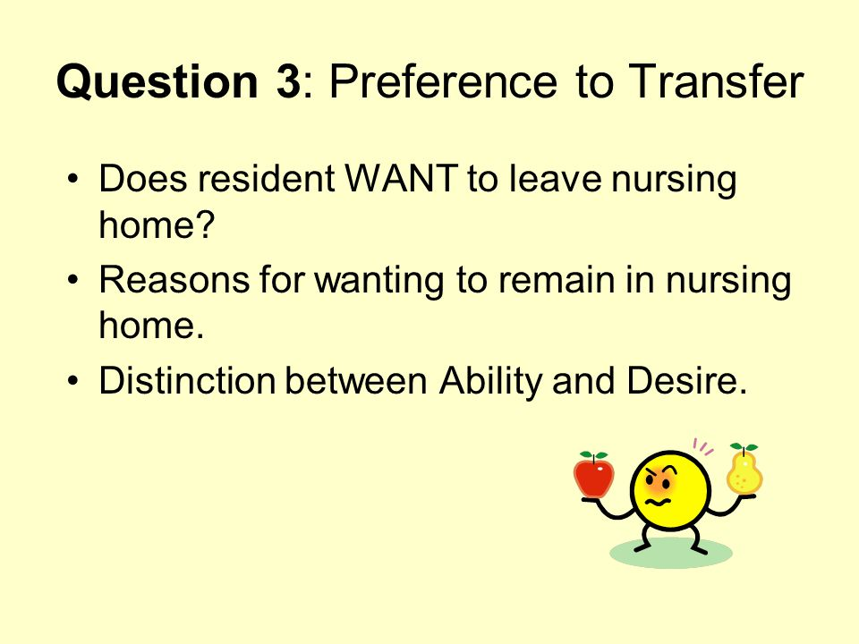Question 3: Preference to Transfer