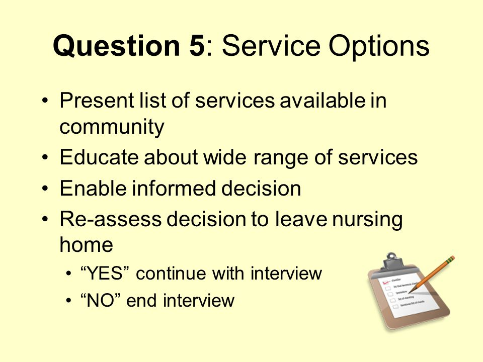 Question 5: Service Options