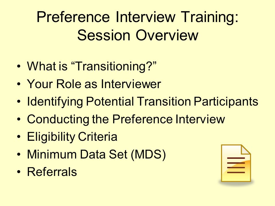 Preference Interview Training: Session Overview