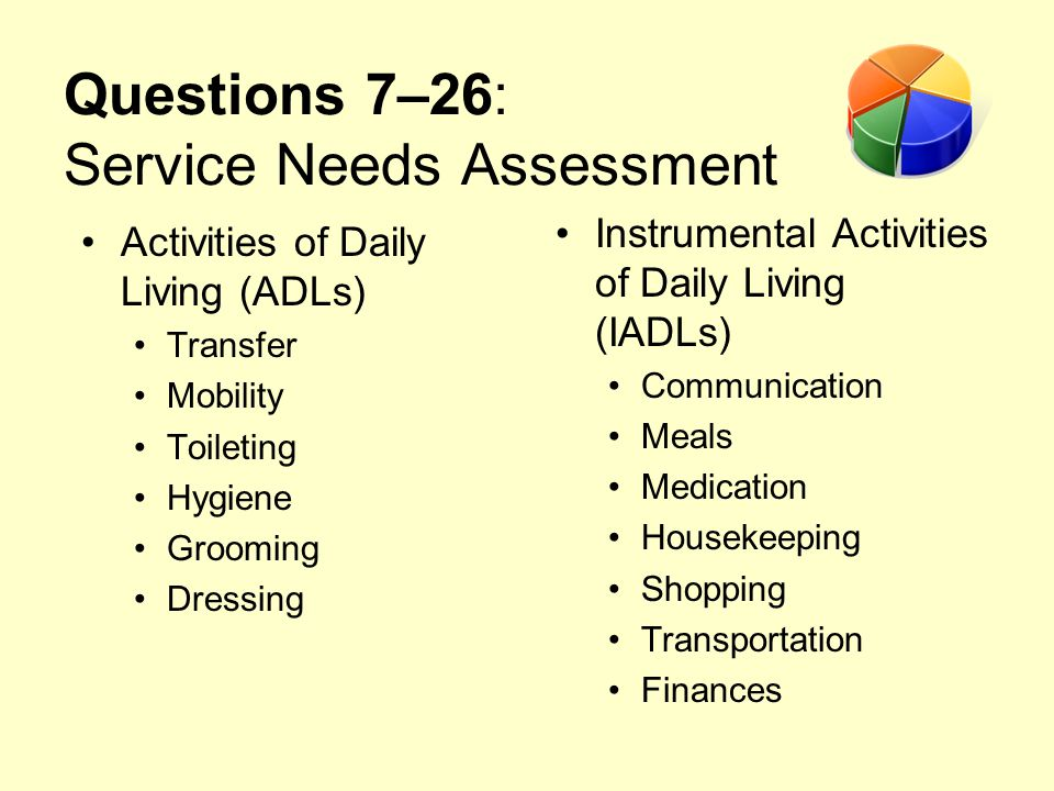 Questions 7–26: Service Needs Assessment